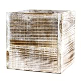 Koyal Wholesale Square Cube Shabby Chic Wood Vase 5″, White (Pack of 6)
