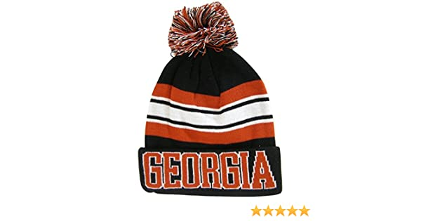4ab4ecf9e23 Georgia Adult Size Winter Knit Beanie Hats (Black Red Striped) at Amazon  Men s Clothing store