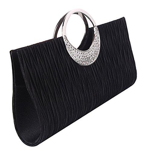 Women Pleated Satin Evening Bag Crystal Handbag Wedding Prom Bride Clutch Purse (Black) (Pleated Clutch Silk)