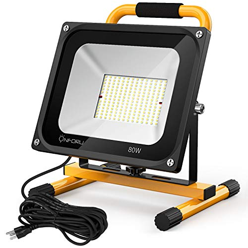 Onforu 7600LM 80W LED Work Light with Stand (800W Equivalent), 2 Brightness Levels, 16.4ft/5m Power Cord with Plug, Waterproof Flood Lights for Workshop, Construction Site, 5000K Daylight White by Onforu