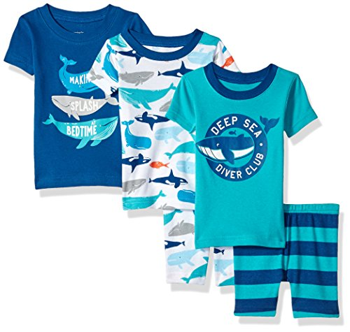 Carter's Baby Boys' 5-Piece Cotton Snug-Fit Pajamas, Whale, 12 (Boys Carters 2 Piece)