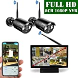 【2019 Update】 OOSSXX 10 inch Screen HD 1080P 8-Channel Wireless Security Camera System,2pcs 1080P 2.0Megapixel Wireless Weatherproof Bullet IP Cameras,Plug and Play,70FT Night Vision,P2P,App, No HDD