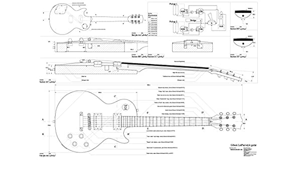 Set de 4 Gibson guitarra eléctrica Planes - CS-356, Les Paul, Les Paul (de doble corte, y Firebird Studio - Escala completa - Guitarra, tamaño real, ...