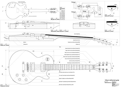 set of 4 electric guitar plans