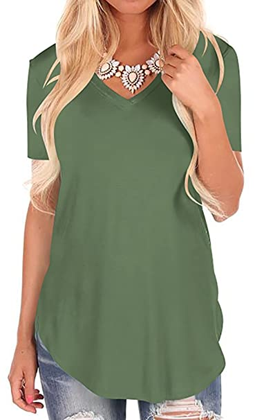 249857c047be Fantastic Zone Women Plain Shirt Casual Loose V Neck T-Shirt with Irregular  Hem Army