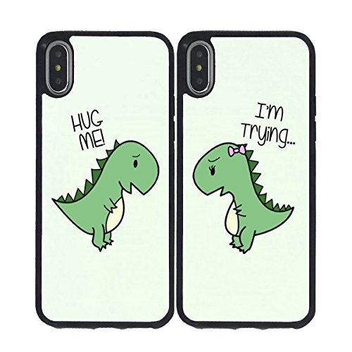 iPhone X Case,BWOOLL Cartoon Cute Little Dinosaur Couple Lovers Best Friends Forever Design Slim Anti-Scratch Shockproof TPU Rubber Protective Cover for iPhone X (2017)