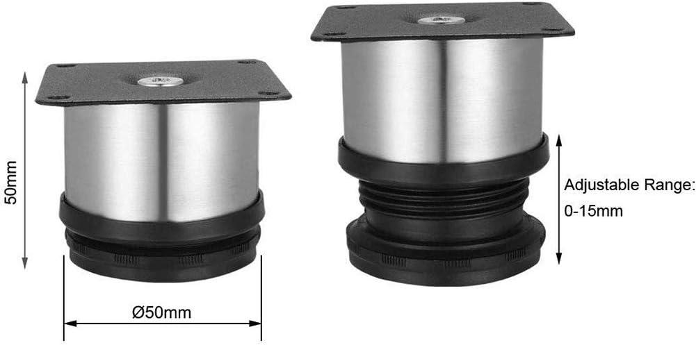 Argent Noir Pieds de Table Solides XHXseller 4pcs Pieds de Cuisine r/églables en Acier Inoxydable Pieds de dia de Meuble Ronds Bureaux /étag/ères Taille 6 pour armoires de Table de canap/é