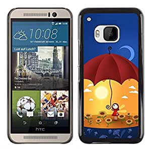LECELL -- Funda protectora / Cubierta / Piel For HTC One M9 -- Cute Umbrella Girl --