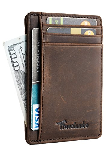 ket Minimalist Leather Slim Wallet RFID Blocking Medium Size(crazy horse coffee) (Mens Credit Card Holder)