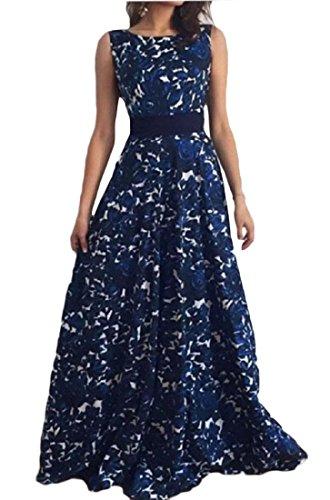 Coolred-femmes Sans Manches Robe De Soirée Dos Robe Pleine Imprimé Floral Bleu Foncé