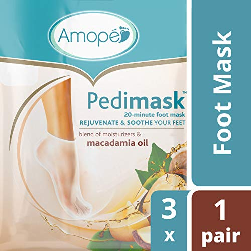 Amope Pedimask Foot Sock Mask, Macadamia Oil Essence, Blend Of Moisturizers To Rejuvenate & Soothe Your Feet. Baby Smooth Feet in Minutes