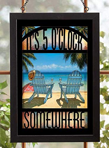 Darby Creek Trading It's 5 O'Clock Somewhere Beach Scene Framed Stained Glass Art Hanging -