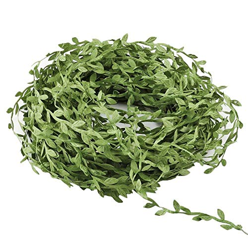 Artificial Olive Green Leaves Leaf Trim Durable Ribbon -30 Yards - for DIY Craft Party Wedding Home Decoration