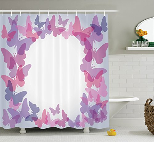 Butterflies Decor Shower Curtaination by Ambesonne, Silhouettes of Butterflies in Shade of Gradient Colors Magical Design Home, Polyester Fabric Bathroom Set, 75 Inches Long, Pink Purple - Gradient Butterfly