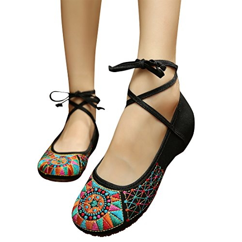 [Dongba culture eleusine indica old Beijing embroidered Summer sandals single woman shoes] (Easy Pop Culture Costumes)
