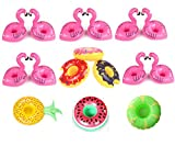 Inflatable Drink Holders,16 Pack Flamingo Palm Donut Fruit Inflatable Party Cup Holders,Party Supplies For Pool Party Beach and Kids Bath Toys (16 Multi-C)