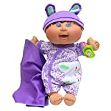 """Cabbage Patch Kids Naptime Babies 12.5"""" Doll Brunette Girl Leopard Jumper"""