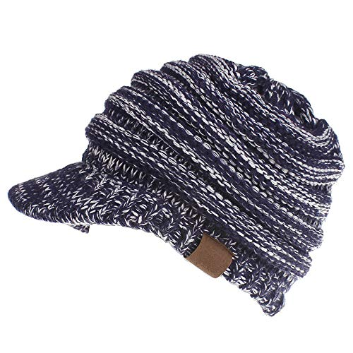 Dukars Women's Warm Chunky Cable Knit Messy Bun Hat Ponytail Visor Beanie Cap (Navy White Mix)