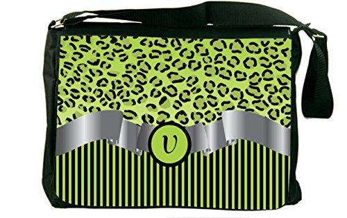 """Rikki Knight Letter """"V"""" Lime Green Leopard Print Stripes ..."""