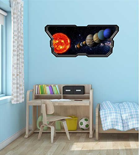 48'' Space Ship Window Instant View SOLAR SYSTEM #3 SPACESHIP Wall Sticker Kids Decal Baby Room Home Mural Art Décor Graphic LARGE by Decal up the Wall Graphics