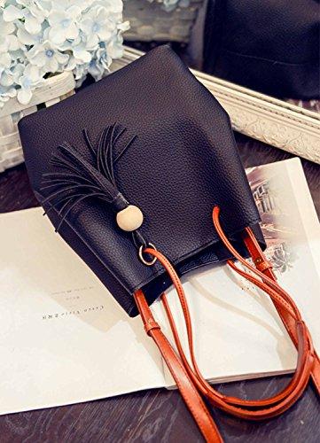 Aiffer Damen Mädchen Quaste Eimer Handtasche Retro Schulter Einfache Taschen Mode Schulranzen Crossbody 2 Stück Set Tasche. Schwarz