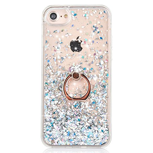 iPhone 7 Case Crystal Clear Quicksand Liquid - JAZ Finger Ring Stand Ultra Thin Soft Transparent Plastic Floating Luxury Bling Glitter Sparkle Diamond Case for iPhone 7 /iphone 8 (Diamond White)