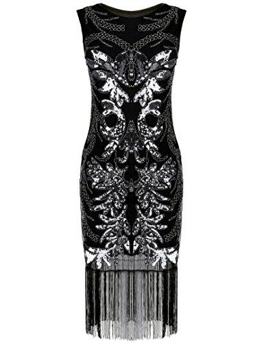 Vestito Lustrino 1920s Fantasia PrettyGuide Perline Gatsby Deco Donne Argento Frange Le Con Art RAHqaw