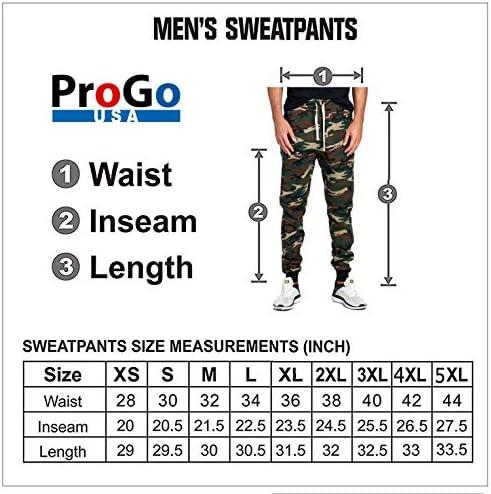 PROGO USA Men's Casual Jogger Sweatpants Basic Fleece Marled Jogger Pant Elastic Waist