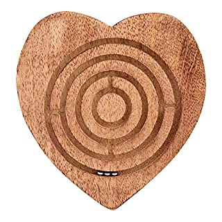 Craft Lyrics Wood Labyrinth Game - 3 Metals Balls in Heart Shape Maze - Challenging Brain Hand Eye Coordination Board Game Toy for Kids Teens Boys Girls Children - Easy Learn and Play