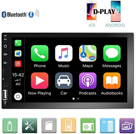 Camecho Double Din Car Stereo 7 1080P HD Touch Screen D-Play Universal Car Multimedia Player Support Android and iOS Mirror Link with Bluetooth FM USB AUX RCA Rear View Camera Input