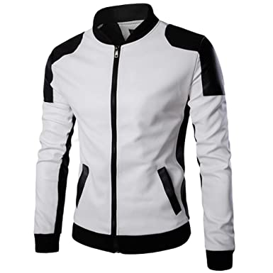Homme Veste de Coureur Veste en Similicuir Blouson Manteaux Biker Jacket  Blanc S b3eb960d0ba