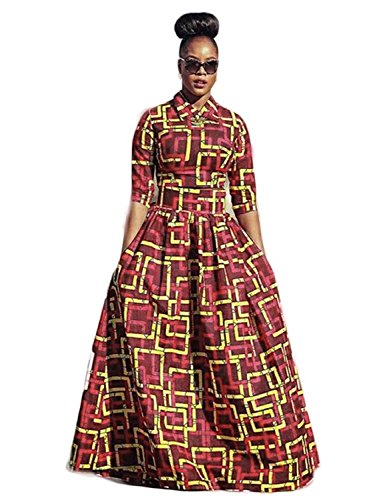 Dashiki Flare Skirt Outfits Fit Top Red1 with Yobecho Print Pockets and Dress Crop Womens Dress Long African Maxi S78nPHqwt
