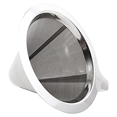 Pour Over Coffee Maker, Dripper Made of Stainless Steel, Paperless Reusable Coffee Filter, Single Cup Brewer