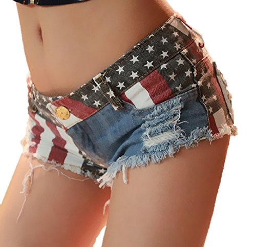 Kurop Women's Low-Rise American Flag Print Hot Pants Shorts Sexy Denim Short Pants (L) (Alluring Short)