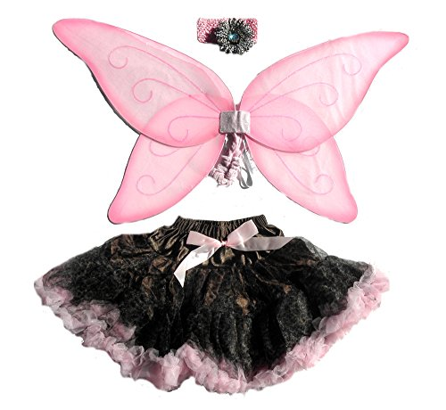 [4 Pc Chocalate Brown Cheetah Petiskirt, Large Pink Wings & Flower Headband] (Flower Child Costumes Ideas)