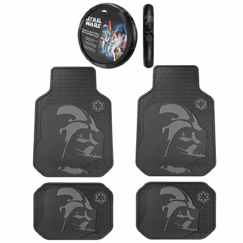 5pc Star Wars Darth Vader Black Front Rear Rubber Floor Mats Steering Cover Set ()