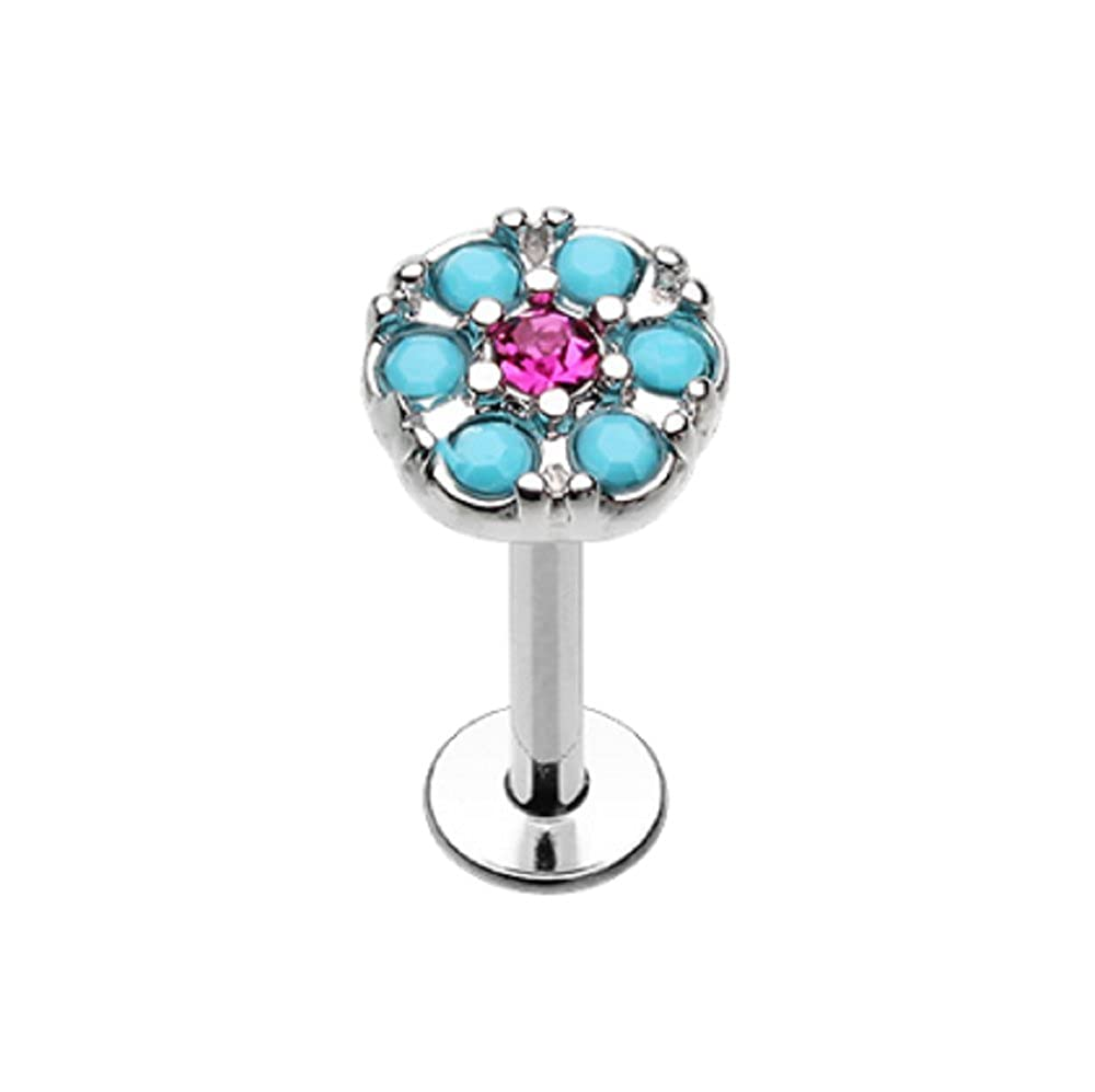 Gypsy Round Turquoise Top 316L Surgical Steel Freedom Fashion Labret//Monroe Sold by Piece