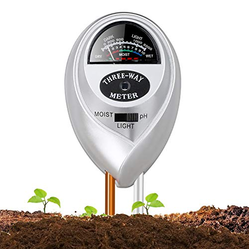 Jellas Soil Moisture Meter - 3 in 1 Soil Tester Plant Moisture Sensor Meter/Light/pH Tester for Home, Garden, Lawn, Farm Promote Plants Healthy Growth - Silver