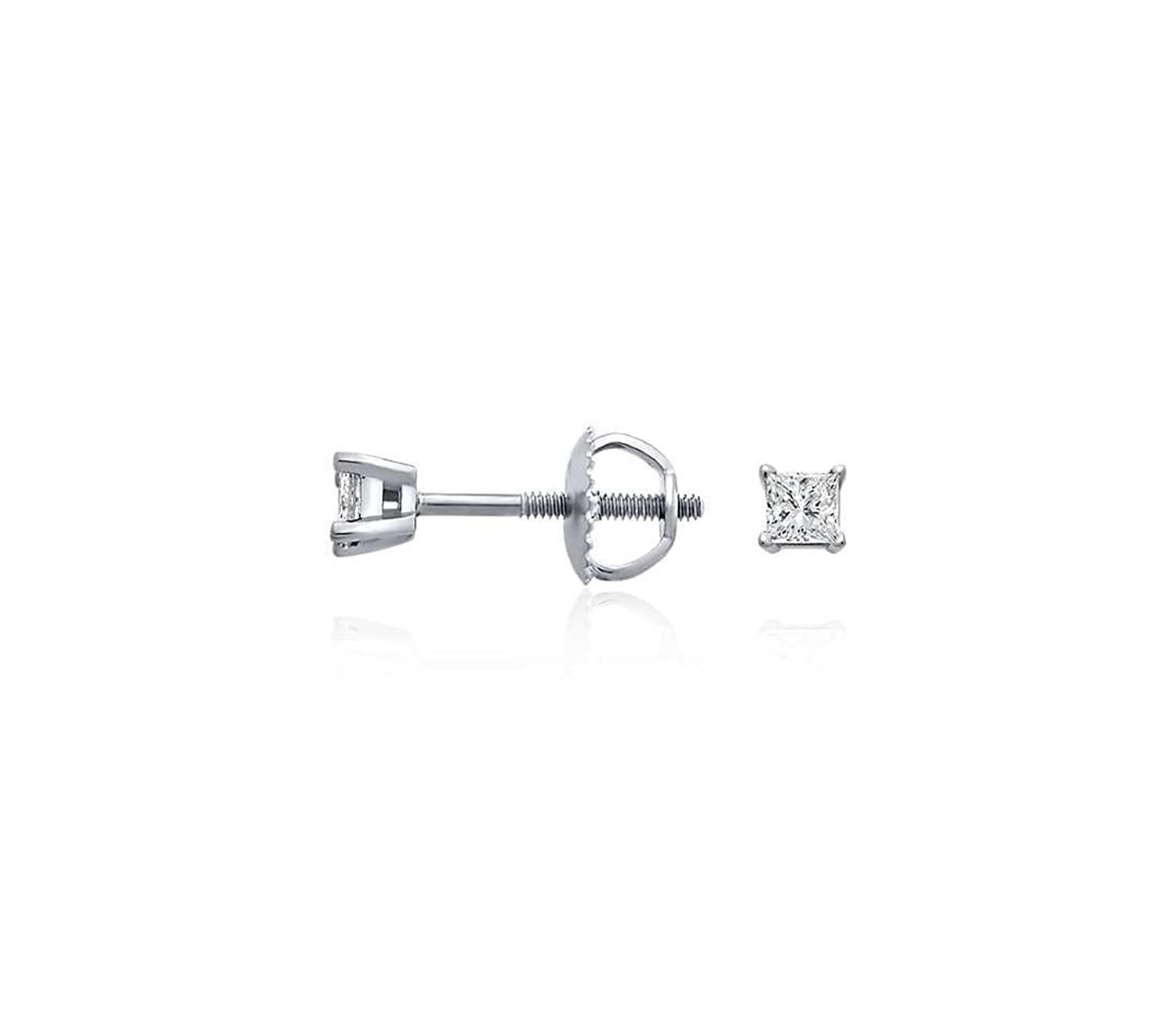 Clara Pucci 0.40 CT Princess Brilliant Cut Solitaire Stud Earrings in 14k White Gold Screw Back