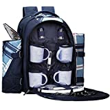 APOLLO WALKER Picnic Backpack for 4 with Cooler Compartment, Blue