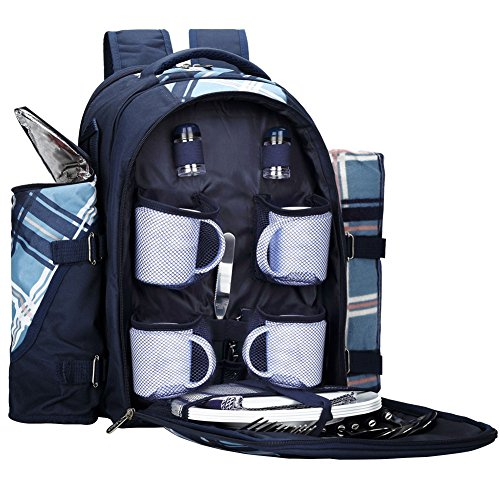 APOLLO WALKER Picnic Backpack for 4 with Cooler Compartment, (Coffee Picnic Backpack)