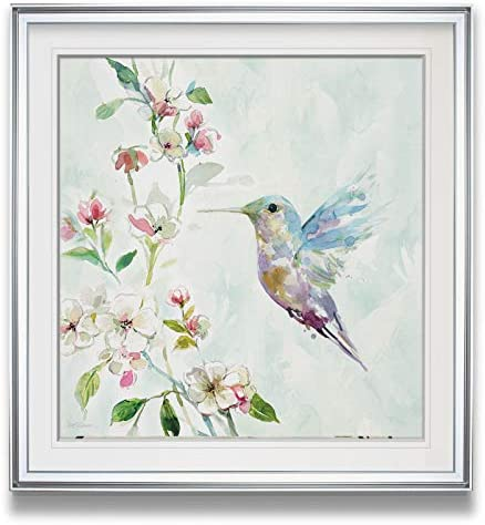 WEXFORD HOME Hummingbird II Bird Art Framed Colorful Floral Pictures Spring Giclee Canvas Prints Animals Wall Decor Painting