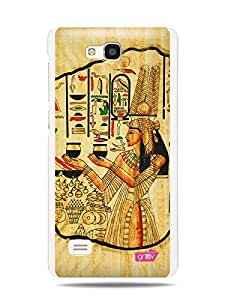 GRÜV Premium Case - 'Ancient Egyptian Papyrus Goddess Painting' Design - Best Quality Designer Print on White Hard Cover - for Huawei Ascend G615