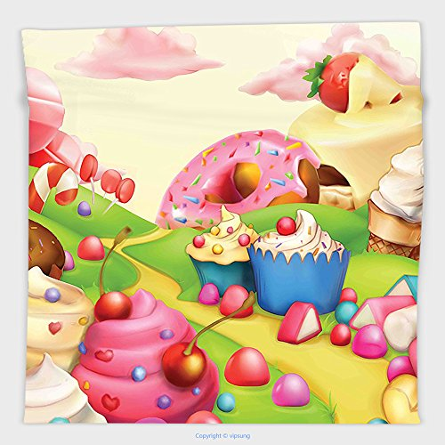 Vipsung Microfiber Ultra Soft Hand Towel-Modern By Yummy Donuts Sweet Land Cupcakes Ice Cream Cotton Candy Clouds Kids Nursery Design Multicolor For Hotel Spa Beach Pool Bath
