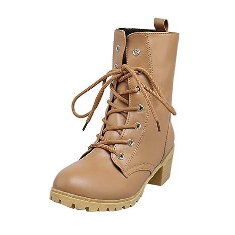 Zapatos combat con correa moda mujer fashion,Sonnena Zapatos de mujer de color sólido de