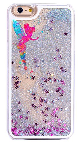 iPhone 7 , Colorful Rubber Flexible Silicone Case Glitter Bumper for Apple Clear Cover - Pink Fairy with Stards from Peter Pan Tinkerbell (Disney Tinkerbell Glitter)
