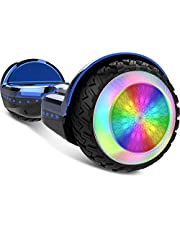 """Gyrocopters PRO 6.0 All Terrain Hoverboard - UL 2272 Certified with Bluetooth, 36V / 2.0Ah Powerful Battery, 6.5"""" LED wheels, APP, No Fall Technology, up to 12km/h speed & 10km range, Front and Back lights, Free Hoverboard Bag (Chrome Blue)"""