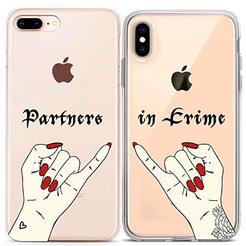 Lex Altern TPU Case for Apple iPhone Xs Max Xr X 10 8 Plus 7 6s 6 SE 5s 5 Cool Partners in Crime Cover Matching Clear Best Friend Phone Silicone BFF Gift Couple Girly Teen Design Print Protective