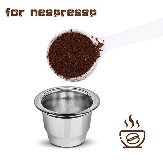 Konesky Cápsulas de Café Reutilizables, Acero Inoxidable Recargable Reemplazo Cápsulas de Filtro de Café con Escobilla Compatible con Cafetera ...