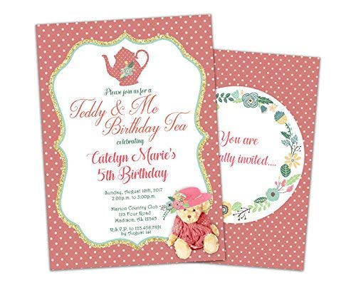 Amazon Teddy Bear Tea Party Invitation Girl Birthday Handmade
